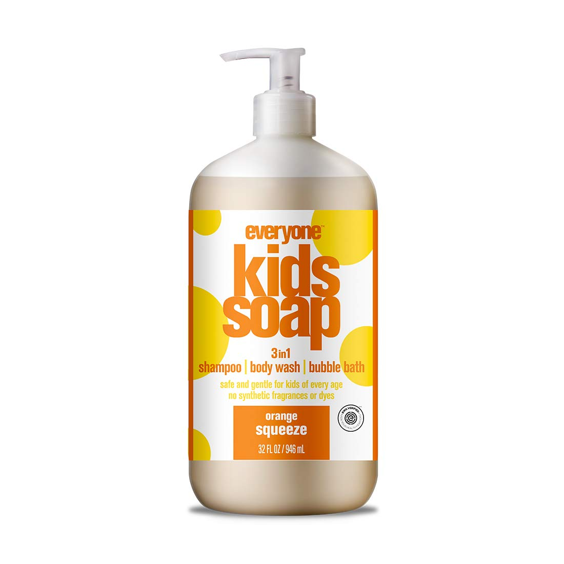 Everyone 3-in-1 Soap for Every Kid for Safe, Gentle and Natural Shampoo, Body Wash, or Bubble Bath, Orange Squeeze, 32 Fl Oz (Pack of 6) by Everyone