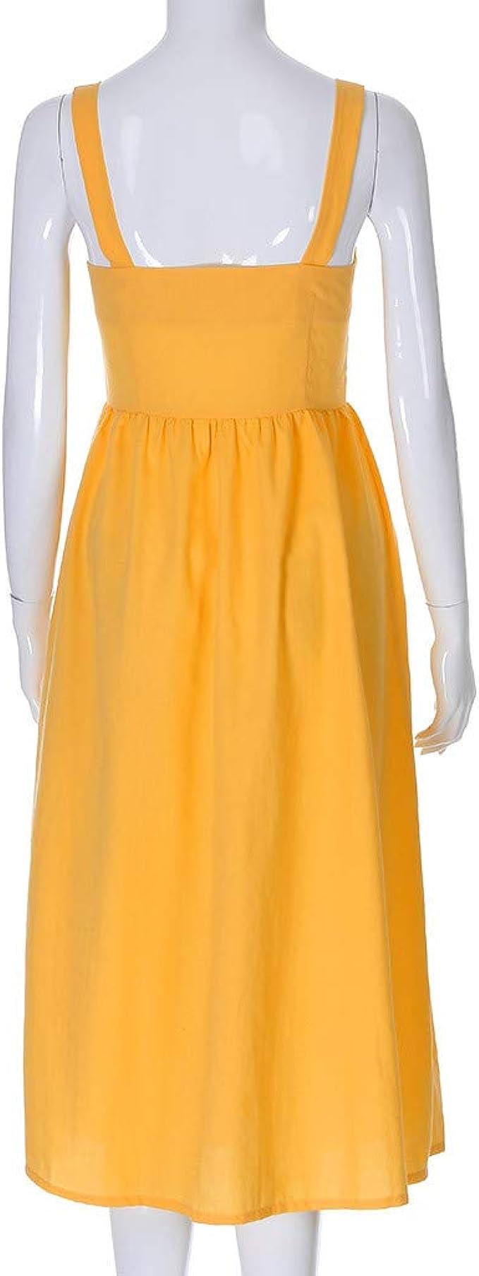Overdose Vestido de Mujer botón de Eslinga Vestido de Lino de algodón Informal día de Fiesta Color sólido era Falda Delgada de Playa Midi: Amazon.es: Ropa y accesorios