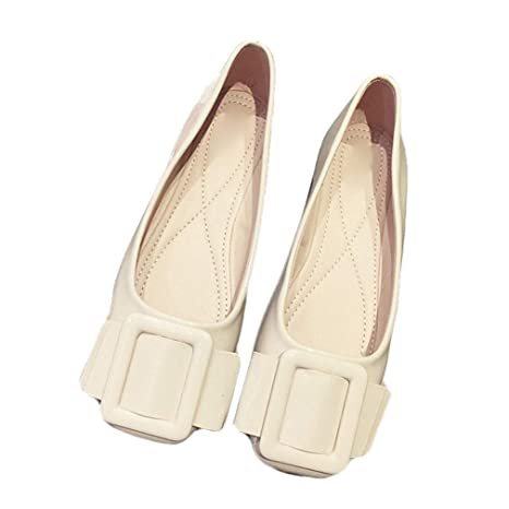 5262ac460e317 Amazon.com: August Jim Women's Stylish Flat Shoes Closed Toe ...