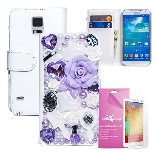 EpicGadget(TM) For Samsung Galaxy Note 4 Bling Bling Luxury Leather Case with Fairy Tale Lavender Design Flip Folio Stand Wallet Cover + HD Clear Galaxy Note 4 Screen Protector (US Seller!!) (Light Purple Fairy Floral Leather Case)