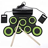 Electronic Drum set for kids,Rechargable Portable Roll Up electronic drum kit Practice Pad built in Battery Speakers with Headphone Jack,durn sticks,Foot Pedals (Green)