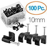 Maximm Cable Clips 100 pcs Black – 10mm with steel nails