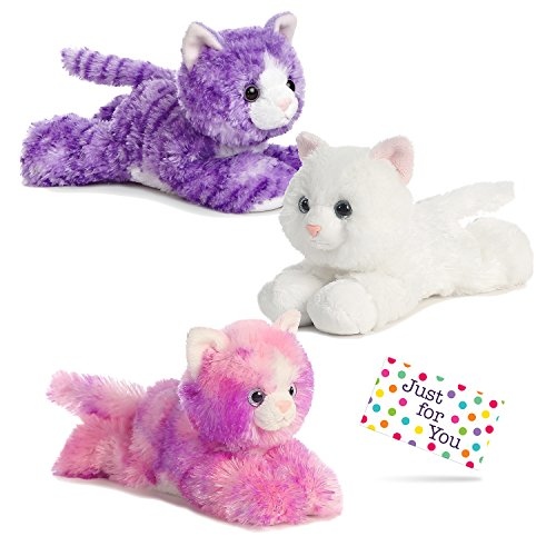 Corner Kids Kitten (Kitty Cat Plush Set - One Each Purple Molly, Sugar Too, and Razberryripple with Drawstring Backpack and Gift Tag by J4U Gifts)