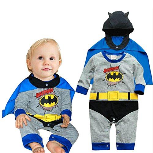 VogueFashion Baby Superhero Jumpsuit with Removable Cape (6-12 Months, Batman) -