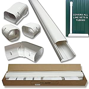 """Hide-A-Line 4"""" 14 Ft Mini split and Central Air Conditioner & Heat Pump Line Set Cover Kit Decorative Tubing Cover"""