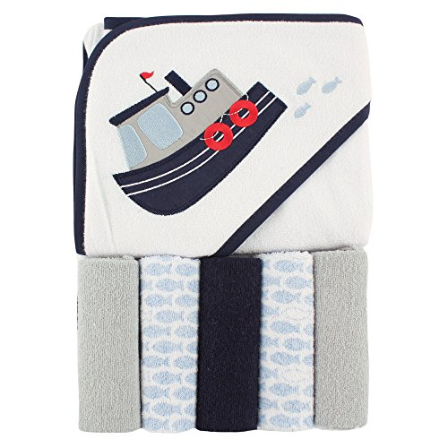 (Luvable Friends Hooded Towel and 5 Washcloths, Tugboat)