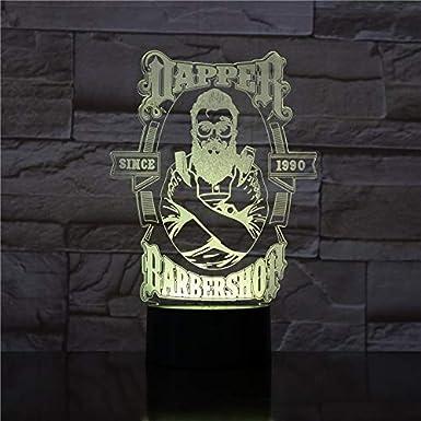 Barber Shop 3D LED Lámpara de noche Dormitorio romántico Lámpara ...