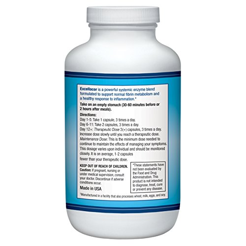 Excellacor – Proteolytic Systemic Enzymes Formula – with Enteric-Coated Serrapeptase - Total Body Support - 450 Vegetarian Capsules - AST Enzymes by AST Enzymes (Image #2)