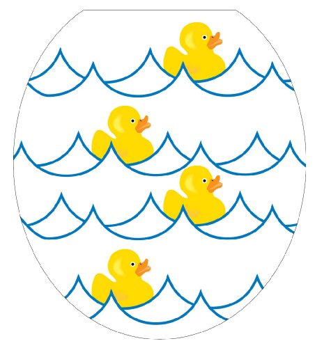Toilet Tattoos TT-4000-R Rubber Ducky White Decorative Applique for Toilet Lid, Round