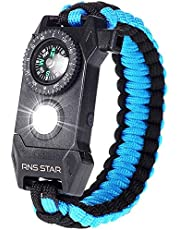RNS STAR Paracord Survival Bracelet 6-in-1 - Hiking Gear Traveling Camping Gear Kit - 70% Bigger Compass LED SOS Emergency Function Flashlight,Fire Scrapper,Flint Fire Starter,Survival Knife