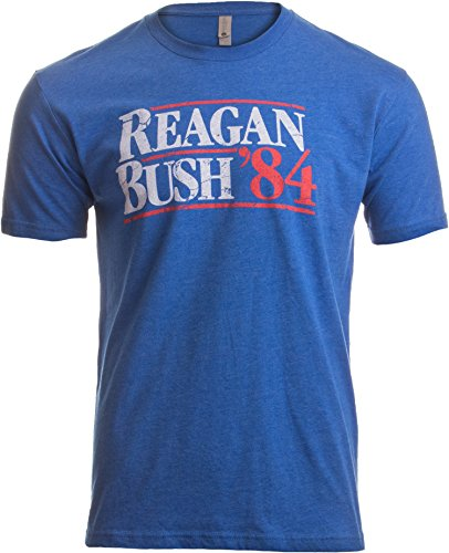 Reagan Bush '84 | Vintage Style Conservative Republican GOP Unisex T-shirt-Adult,M Heather Royal Blue