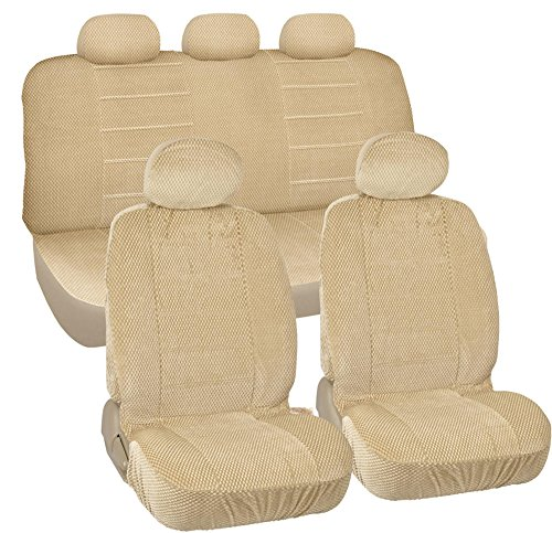 BDK CozySeats Fine Scottsdale Fabric Car Seat Covers -Full Set Front & Rear in Tan Beige - Original Seat Protection