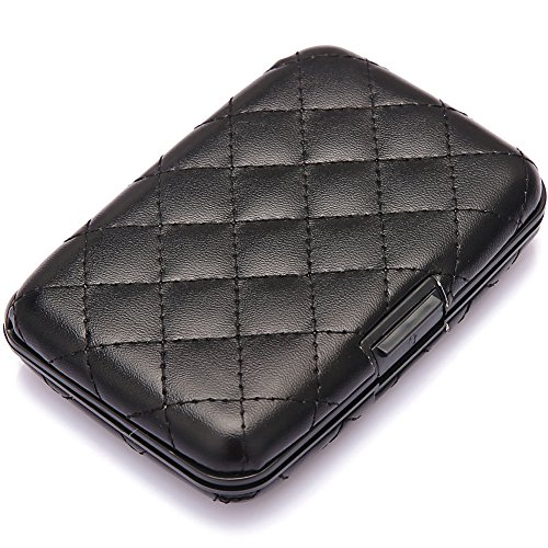 Elfish Mini Aluminum RFID Blocking Credit Card Holder for Men Women - Slim Travel Wallet - Aluminum Black