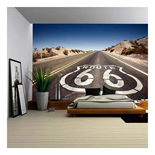 (wall26 - Famous Route 66 Landmark on The Road in Californian Desert - Removable Wall Mural | Self-Adhesive Large Wallpaper - 100x144 inches)
