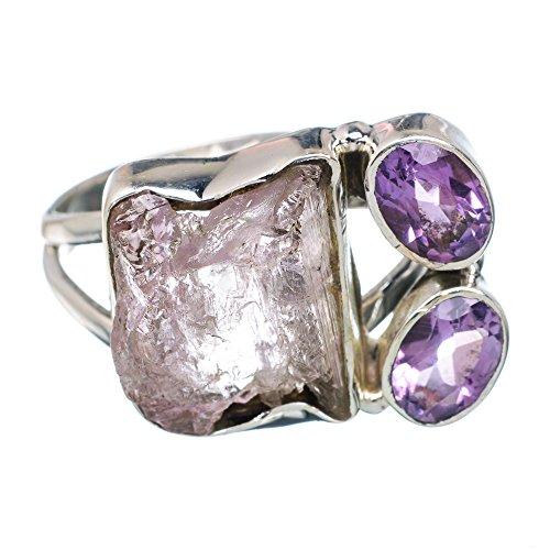 Rough Kunzite, Amethyst Ring Size 9 (925 Sterling Silver) - Handmade Jewelry (Amethyst Kunzite Ring)