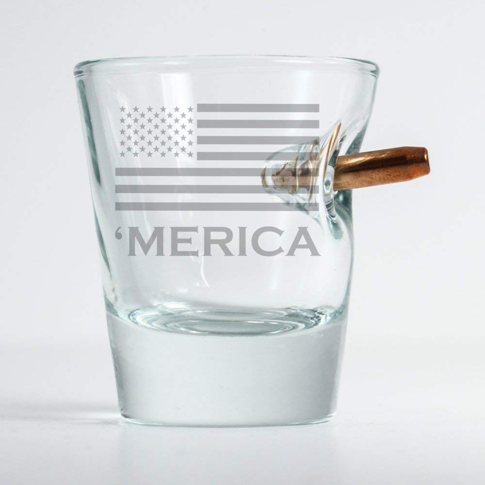 BenShot Original Bullet Shot Glass with 'merica by Ben Shot USA