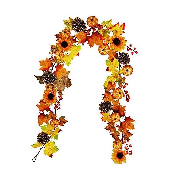 Winlyn Fake Fall Maple Leaf Garland Hanging Vine- 6 Feet – Artificial Berries Sunflower Pumpkin Autumn Decoration for Wedding Party Thanksgiving Dinner Fireplace Door Frame Doorway Backdrop Decor