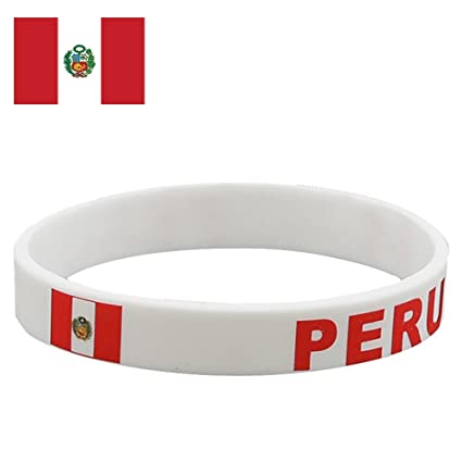 TDoperator PERU Flag Silicone Bracelet FIFA World Cup 2018 For Soccer Fan Unisex Design Soft and