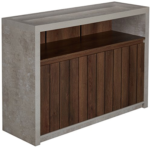 Furniture of America Broxo Industrial Buffet Table with Open Shelf, Slatted Cabinet Doors, Flat Rested Base, Walnut and Cement - Industrial style Sophisticated cement finish Spacious open shelf storage - sideboards-buffets, kitchen-dining-room-furniture, kitchen-dining-room - 51AlUigBpAL -