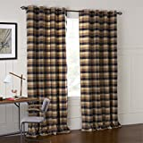 IYUEGOU Country Retro Dark Colored Plaid Jacquard Grommet Top Curtains Draperies With Multi Size Custom 50'' W x 63'' L (One Panel)