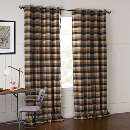 Plaid Bed Curtain (IYUEGOU Country Retro Dark Colored Plaid Jacquard Grommet Top Curtains Draperies With Multi Size Custom 42
