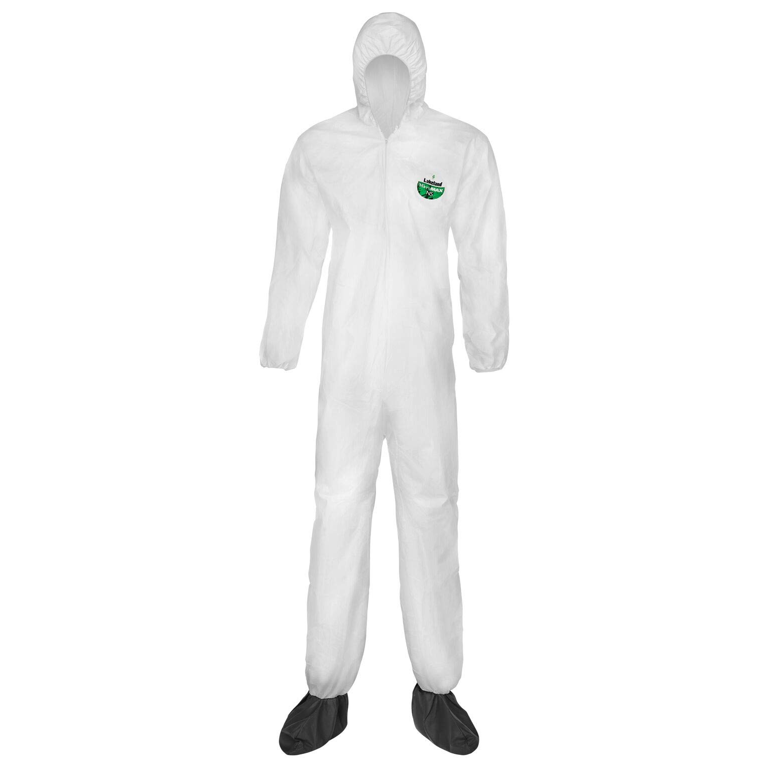 Lakeland MicroMax NS Microporous General Purpose Disposable Coverall with Boots, Elastic Cuff, X-Large, White (Case of 25) by Lakeland Industries Inc