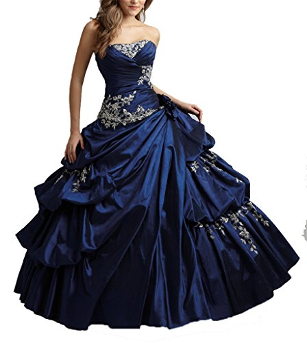 Wenli Women Strapless Tiered Taffeta Ball Gowns Juniors Prom Dresses 0 US Navy