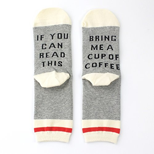 Dotuz Unisex Cotton Funny Crew Socks Funky Cute Wine Party Hosiery For Christmas, Birthdays, Mother or Father Gift, husband, Wife or Friend (White Coffee)