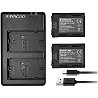 SWINCHO Sony NP-FZ100 Battery (2-Pack 2280mAh) and Dual USB Charger for Sony Alpha A9, a7 III, a7R III Digital Cameras and BC-QZ1 (100% Compatible with Original)