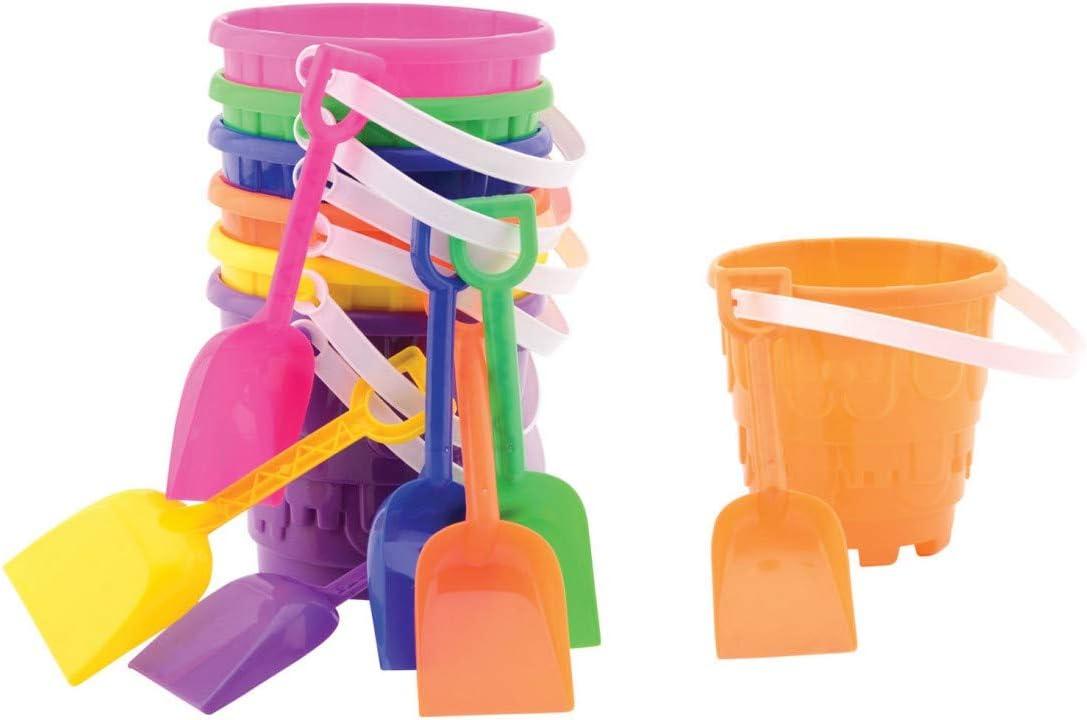 UMKYTOYS 2 Beach Buckets With Spades Kids Outdoor Sand Castle Buck Blue//Green//Orange