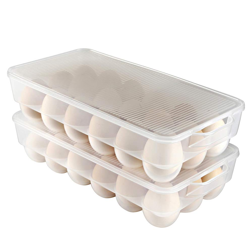 Eslite Covered Egg Holder,Egg Storage for Refrigerator,Fits 18 Eggs,Pack of 2