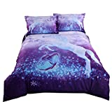 Beddingin Purple 3D Unicorn Bedding Flying Butterfly Duvet Covers Set 4 Pieces Flat Sheet Set for Girls