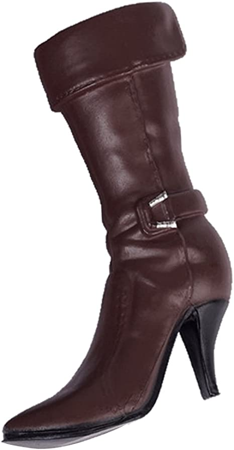1//6 Low Heel Knee-high Boot Shoes for 12/'/' Action Figure Accessory Brown