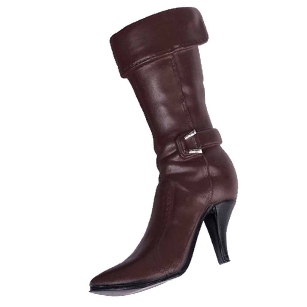 Amazon.com  MonkeyJack 1 6 Female High Heels Mid Boots Accessories for 12   Action  Figure Toy Brown  Toys   Games d93bfb3698d2