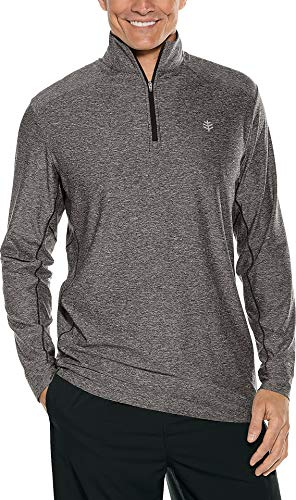 Coolibar UPF 50+ Men's Performance Pullover - Sun Protective (Large- Charcoal Heather)
