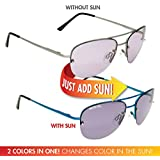 Solize Color-Changing Polarized Sunglass by Del Sol - Lifetime Protection Against Theft, Loss or Damage (Male Ego - Silver to Blue, Del Sol Polarized Lens)