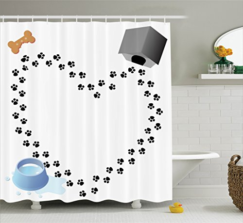 Ambesonne Dog Lover Decor Collection, Puppy Love Heart Shaped Trail Of Paw Prints Bone Dog House Kennel Water Drops, Polyester Fabric Bathroom Shower Curtain Set with Hooks, Black White (House Paw Print)