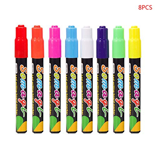 liumiKK 8 Colors Highlighter Fluorescent Liquid Chalk Marker Neon Pen for LED Writing Board Blackboard Glass Painting Graffiti Office Supply (Dry Erase Neon Board)