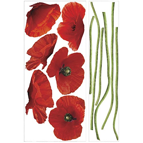 RoomMates Poppies At Play Peel and Stick Giant Wall Decals