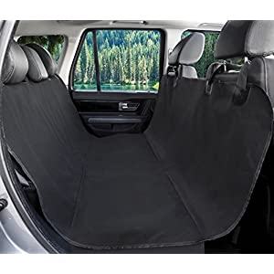 Callas Hammock Polyester 600D Waterproof Scratch Proof Soft Textile Pet Back Seat Covers for Cars Trucks and SUVs (Black)