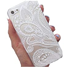 Susenstone®Fashion Henna White Floral Flower Plastic Case Cover Skin for iPhone 5 5S