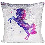Ainik Mermaid Pillow Case Mermaid Pillow Cover Sequin Throw Pillow Case Decorative Color Change Cushion Cover Sofa Bedroom Car Kids 16 x 16 inches (Unicorn/Rainbow)