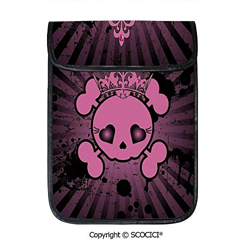 SCOCICI Shockproof Tablet Sleeve Compatible 12.9 Inch iPad Pro Cute Skull Illustration with Crown Dark Grunge Style Teen Spooky Halloween Print Decorative Tablet Protective Bag]()