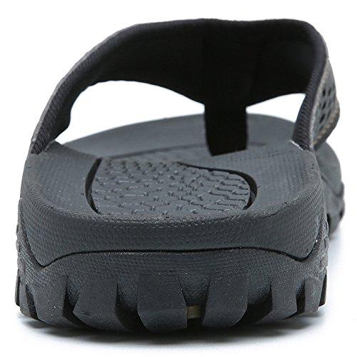 Men's Leather Sandals Summer Slippers Indoor and Outdoor Beach Thong Flip Flop Brown ZMUWJmvGh