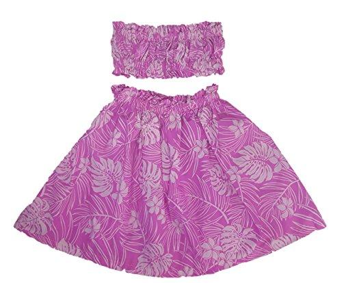 [Hula Girl Outfit Costume Hawaiian Polynesian Print (6-8, Pink/Lt Pink)] (Polynesian Girl Costume)