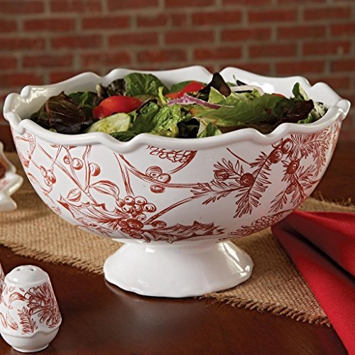 Mud Pie Holly Toile Pedestal Serving Bowl