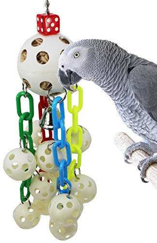 (Bonka Bird Toys 1792 Ball Waterfall Bird Toy Parrot cage Foraging African Grey Conures Macaw Aviary Cockatoo Plastic Chain Swing Pull Treat Ring Perch)