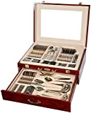 Silverware Set-84 Piece Elegant Premium Silverware Flatware Set 18/10 304 Surgical Stainless Steel with Silver Plated Accents Service for 12
