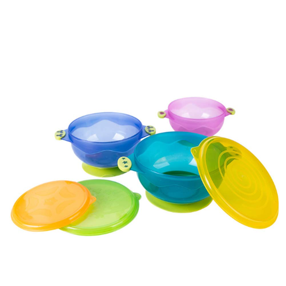DierCosy Baby Sucker Bowl Baby Suction Feeding Bowls with Cover Infant Supplementary Food Tableware Set of 3 (Random Color) BabyProducts