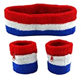 Funny Guy Mugs Sweatband Set (3-Pack: 2 Wristbands with Zipper/Wrist Wallet & 1 Headband), Red/White/Blue